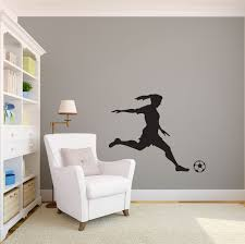 zoom on custom vinyl wall art stickers with medium girl soccer player kicking silhouette sports wall