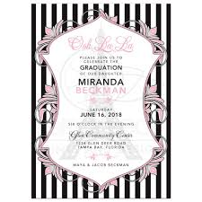 Paris Eiffel Tower Graduation Invitation Chic Pink Black