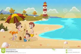 family building sand castle on beautiful beach