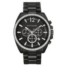 men s wittnauer chronograph crystal accent gold finished stainless men s wittnauer black ion plated crystal accented chronograph stainless steel watch