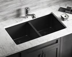 Black Kitchen Sink And Taps 802 Black Double Equal Bowl Trugranite Kitchen Sink