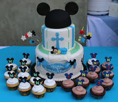 Baby Mickey Birthday Baptism Cake Childrens Cakes Mickey