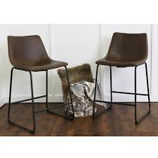 brown faux leather counter stools set of 2 hover to zoom
