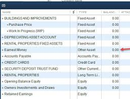 Chart Of Accounts For Rental Property Quickbooks Earnest Money Deposit Lost