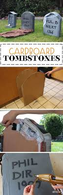 How to Make Cardboard Tombstones. Halloween Decorations ...