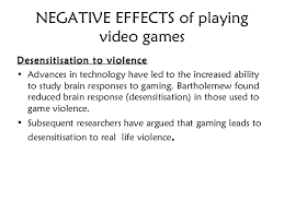 a media effects of video games and computers 11 negative effects of playing video games desensitisation to violence