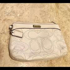 coach off white small clutch or cosmetic bag