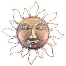 copper sun outdoor wall art wondrous face decor designing home hanging decorative metal huge large