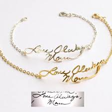 signature bracelet signature jewelry personalized handwriting bracelet custom handwriting jewelry in silver