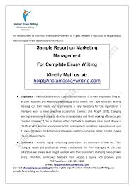 sample report on marketing management by instant essay writing 5