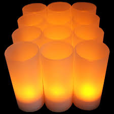 Tea Light Candle Fireplace Log 12pcs Set Flameless Rechargeable Tea Light Candles W Frosted Votive Holders