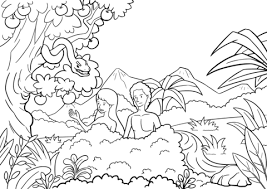 Small Picture Adam and Eve Tempted by the Serpent coloring page Free Printable