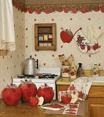 ... Kitchen Theme Decor Sets Kitchen Themes Walmart Red Apple Ceramic  Canisters With Ribbon Apple ...