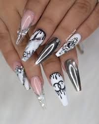 Chanel Nail Design 50 Awesome Long Coffin Nail Designs You Must Try Chanel