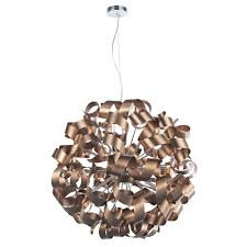 contemporary ball ceiling pendant wrapped in nest of copper ribbons marquesa large crystal flush ceiling light franklite lighting