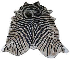 details about zebra cowhide rug genuine zebra print cow hide rugs 7 5 x 6