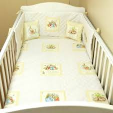 beatrix potter baby bedding with cream dotty squares