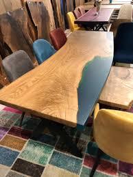 Baumscheiben Tisch Nussbaum Kanten Mit Epoxidharz Aufgefüllt