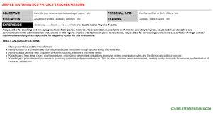 Mathematics Physics Teacher Cv Cover Letter Resume