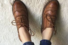 retro women oxfords brown shoe
