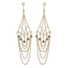 clip on earrings kafi gold plated chandelier earring with chains and crystals