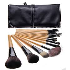 bliss and grace professional 15 piece wood makeup brush set with vegan leather travel case on orders over 45 overstock 11665274