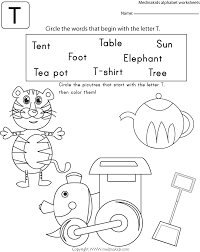 circle the word that begin with the letter t