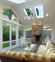 Sunroom With Fireplace Designs Interior Great Looking Sunroom Interiors Design With White