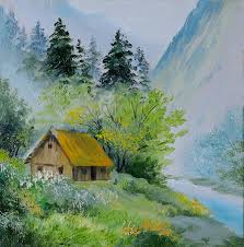 oil painting landscape in mountains house in the mountains stock ilration ilration