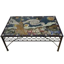 studio mid century mosaic tile coffee table van gogh style california for