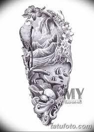 черно белый эскиз тату рукав на руку 11032019 071 Tattoo Sketch