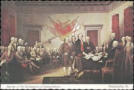 postcard of the signing of the declaration of independence painted by john trumbull