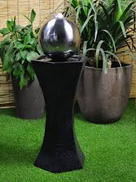 Solar Light Up Water Feature Details About Solar Power Black Pedestal With Steel Sphere Water Feature Battery Led Charger