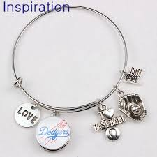 2018 baseball fashion jewelry los angeles charm bracelet expandable wire bangle with i love baseball pendant baby gold bangle bracelet silver mens bangle