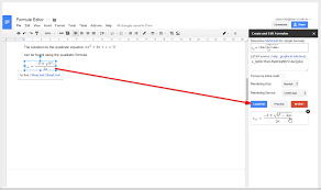 formula editor lets you to easily type mathematical equations from the sidebar in your google doc formulas can be created either using the mathematics