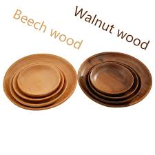 high quality plates black walnut wooden tableware beech wood plate handmade log dish for daily use gifts black walnut wooden tableware beech wood plate