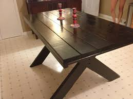 custom made 2 tone farm table with picnic style legs