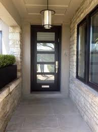 modern entry door with frosted glass and mail slot