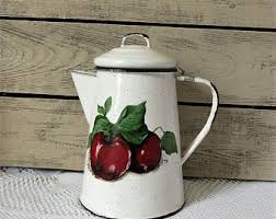 apple kitchen decor. apple enamelware coffee pot - speckled enamel country farmhouse kitchen decor