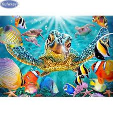 diy diamond embroidery 5d diamond painting diamond mosaic 3d pattern sea turtle goldfish on sea turtle canvas wall art with diy diamond embroidery 5d diamond painting diamond mosaic 3d pattern
