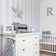 Nursery with white furniture White Gloss Grey Nursery With Striped Wallpaper And White Furniture Pinterest Grey Nursery With Striped Wallpaper And White Furniture Nurseries
