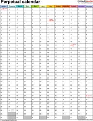 Perpetual Calendars 7 Free Printable Excel Templates