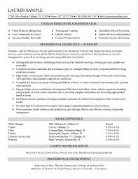 Resources Administrator Resume Human Resource Example No Exper Sevte