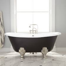 the dramatic detailing along the feet meshes well with the striking black paint the size of this tub is perfect for stretching out and relaxing