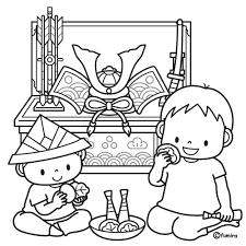 5月人形兜飾りと柏餅を食べる兄弟のイラストぬりえ 子供と動物