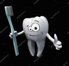 Dent De Dessin Anim 3d Tenant Une Brosse Dents Photographie