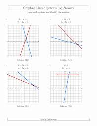 graphing linear equations worksheet unique solve systems of linear equations by graphing standard a