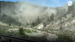 Earthquake leaves boulders on highway ...