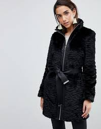 lipsy faux fur coat with belt and zip front black