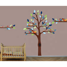 green and blue shelving nursery wall decals tree for kids rooms
